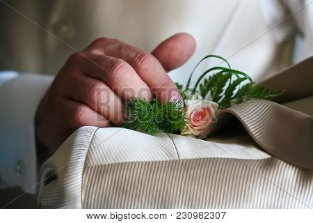 The Groom Touches The Flower On The Suit