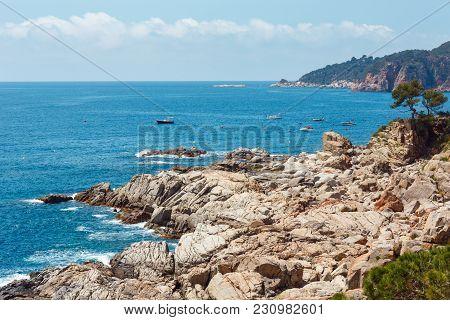 Summer Sea Stony Coast View. Coastline Between Barcelona And Palamos (costa Brava, Catalonia, Spain)