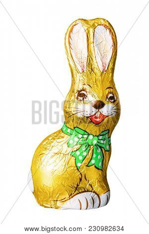 An image of a typical chocolate easter bunny isolated on white