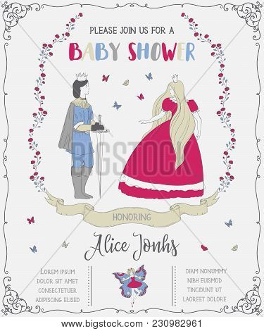 Baby Shower Invitation With Prince, Princess, Fairy, Roses And Butterflies. Fairy Tale Theme. Vintag