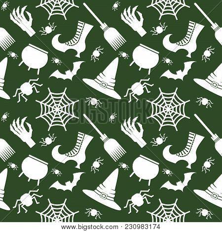 Vector Halloween Seamless Pattern. Black Icons Of Skull, Spider, Web, Pumpkins, Cauldron. Design Ele