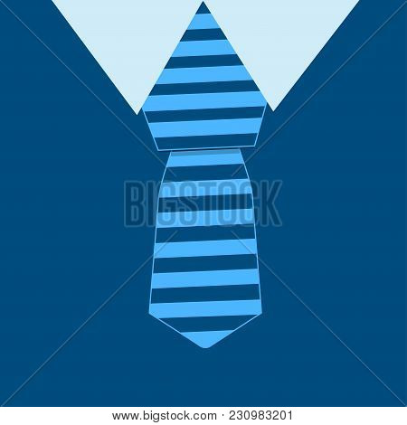 Avatar Of A Man In A Blue Suit And Striped Necktie. Vector Illustration.