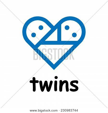 Twins Icon. Newborn Twins In The Form Of Heart. Vector Illustration.