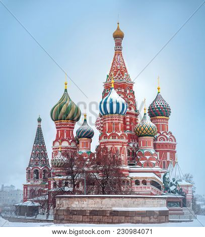 St. Basil's Cathedral In Moscow Covered By Snow.