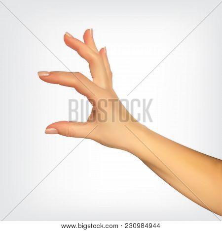 Realistic 3d Silhouette Of Hand Showing The Size Your Fingers, The Ability To Insert Something. Vect