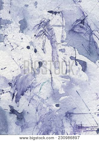 Blue Ink Spots, Watercolor Paint Spatters And Splashes, Grunge Abstract Painting Background. Creativ