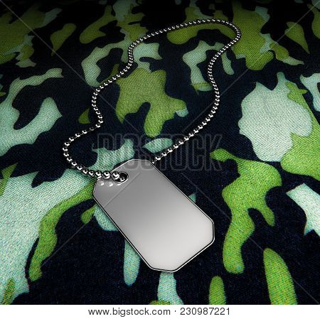 Personal Army Metal Icon Isolated On Military Background 3d Rendering