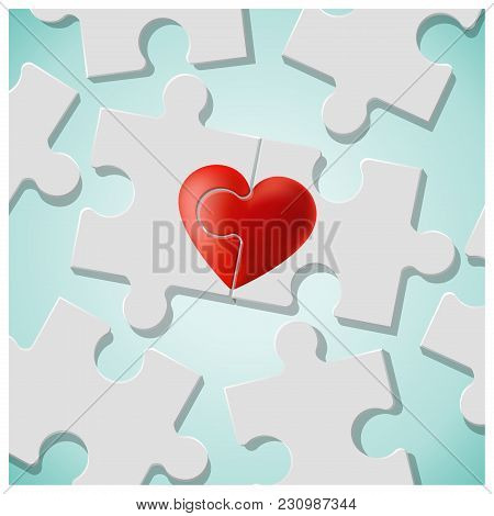 True Love Concept With Pieces Of Red Heart Puzzle Join Together , Vector , Illustration