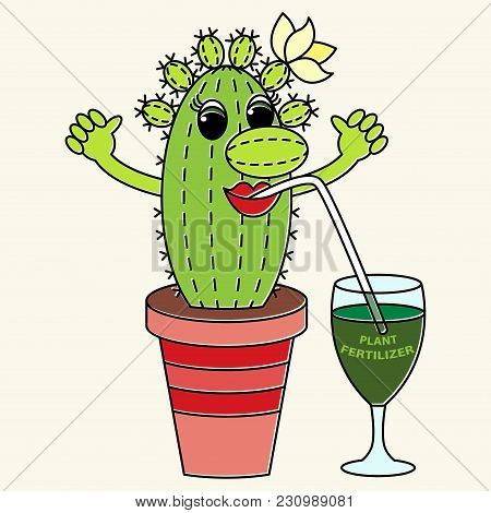 Cartoon Funny Colorful Cactus Drinks A Fertilizer. Suitable For Advertising Of Companies Engaged In