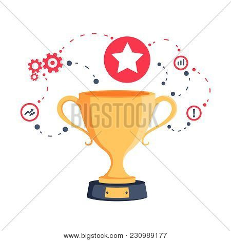 Strategy For Success Win Prize And Reward Program. Golden Cup Game Trophy For Award Ceremony. Big Ac