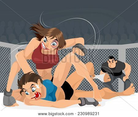 Vector Illustration Of Struggle Of Women In The Ring