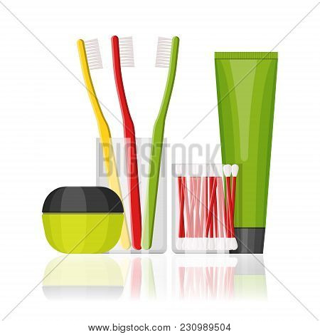 Colorful Vector Cosmetic And Dental Set For Beauty And Cleanser, Skin And Teeth Care. Flat Design On