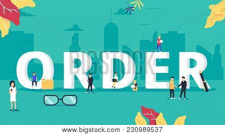 Online Order Concept Vector Illustration Of People Ordering And Purchasing Different Types Of Goods
