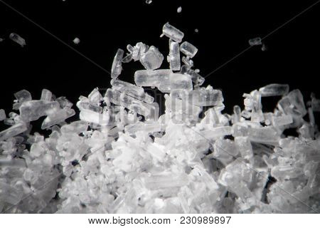 Creatine Crystals By Microscope. Athletic Dietary Supplement In Details Supermacro Close-up. White C