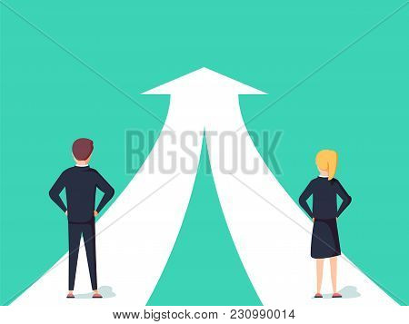 Business Cooperation And Partnership Vector Concept. Woman And Man Working Together For Common Goal.
