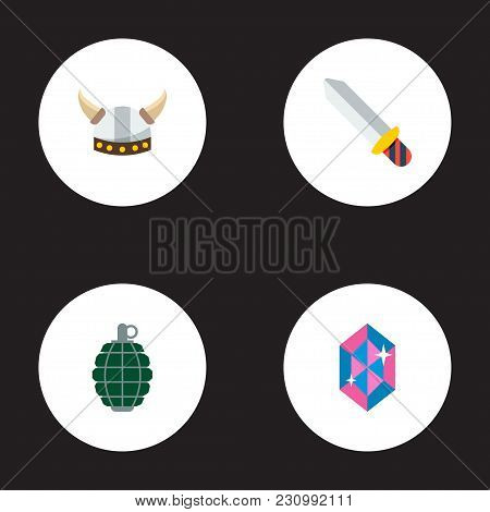 Set Of Game Icons Flat Style Symbols With Grenade, Barbarian, Crystal And Other Icons For Your Web M