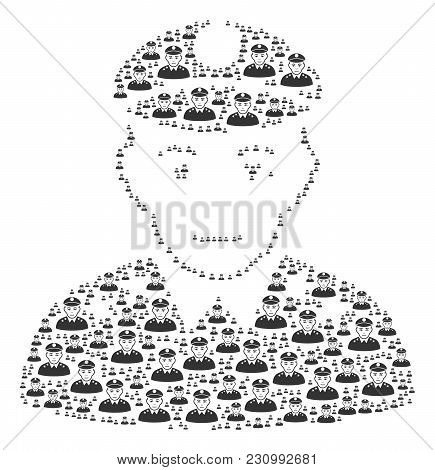 Army General Composition Organized In The Shape Of Army General Design Elements. Vector Iconized Col
