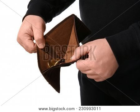 Poor man showing his wallet with coins, isolated on white