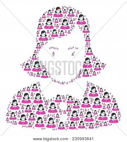Lady Pattern Done In The Group Of Lady Icons. Vector Iconized Collage Done From Simple Elements.