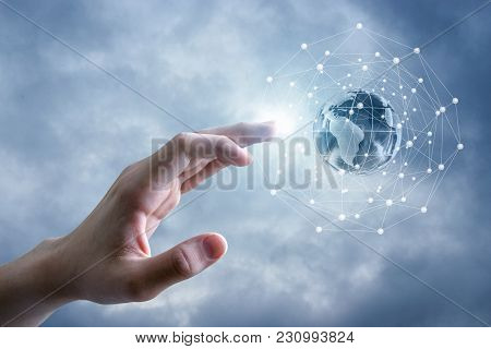 Global Network And The Hand In The Sky.