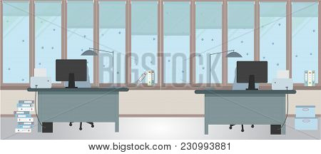 The Winter Office On A Light Blue Background. Vector Illustration. Two Tables And Two Chairs, Folder