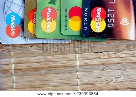 Ryazan, Russia - February 27, 2018: Credit Cards Over The Bamboo Background