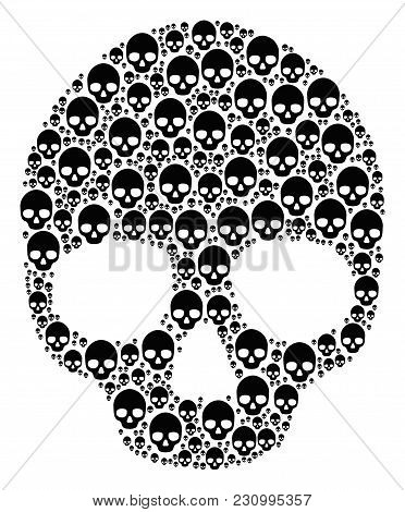 Skull Composition Composed In The Set Of Skull Elements. Vector Iconized Collage Created With Simple