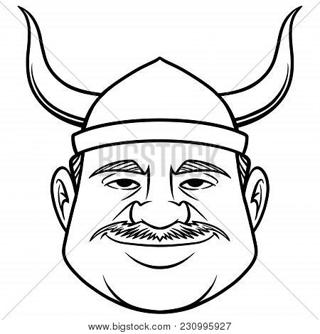 Black And White Viking Dude - A Vector Cartoon Illustration Of A Guy Dressed As A Viking.