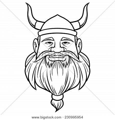 Black And White Viking With Beard - A Vector Cartoon Illustration Of A Viking With A Beard.