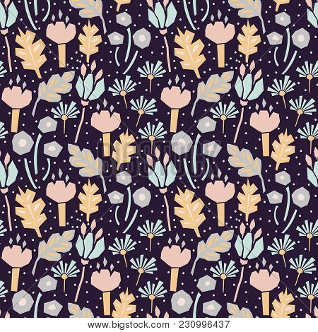 Seamless Flower Pattern With Cutout Florals. Deep Violet Repeat Background And Pastel Color Plants.