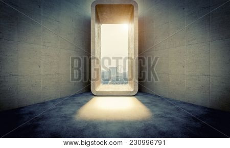 abstract concrete door and city background 3d rendering image