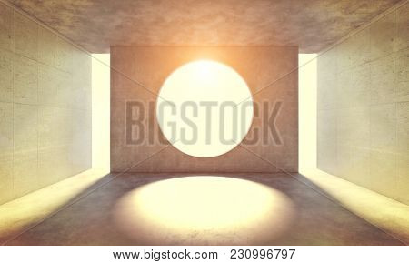 modern abstract concrete room with circular hole on the wall 3d rendering image