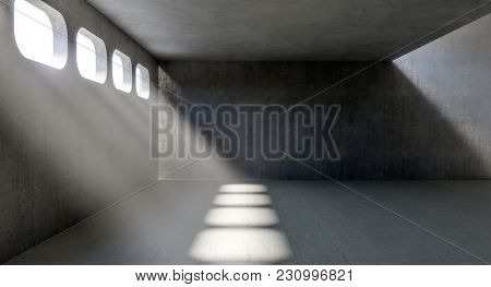 concrete indoor with windows and sun ray light 3d rendering image