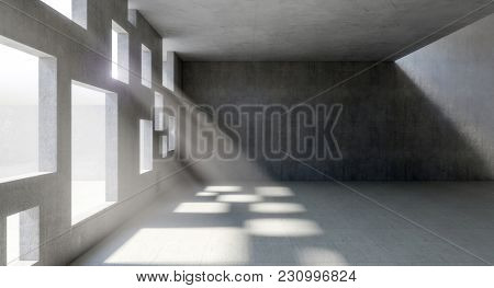 square windows on concrete wall indoor 3d rendering image