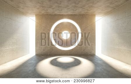 concrete abstract modern room and light glow 3d rendering image