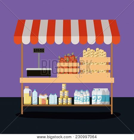Supermarket Colorful Background Shelf With Foods And Weighing Machine Vector Illustration