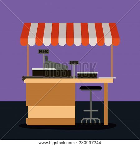 Supermarket Colorful Background Of Pay Point With Sunshade Vector Illustration