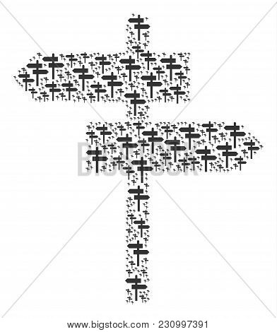 Road Pointer Illustration Made In The Set Of Road Pointer Pictograms. Vector Iconized Collage Design