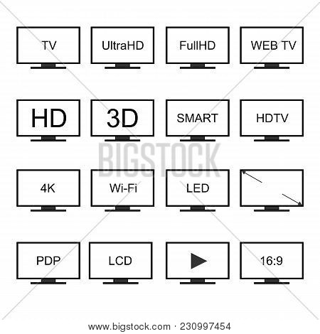 Tv Icons Vector Set. Television Screens On A White Background. Isolated Silhouettes In Flat Style. M