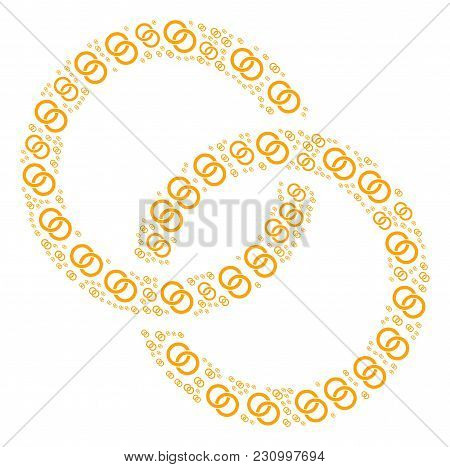 Wedding Rings Pattern Designed In The Group Of Wedding Rings Design Elements. Vector Iconized Collag