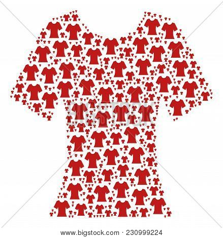 Lady T-shirt Illustration Combined In The Set Of Lady T-shirt Pictograms. Vector Iconized Collage Or