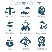 Business Ethics Solid Icon Set with Honesty, Integrity, Commitment, & Decision poster