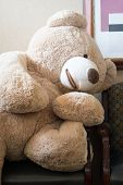A big soft cuddly bear sits in a chair, waiting for a child or an adult to come and sit the next chair poster