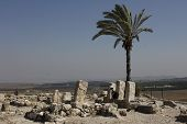 The Ancient Tel Megiddo Ruins, a biblical place of the Armageddon Battle in the Revelation Book. poster
