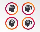 Head with brain icon. Male and female human think symbols. Cogwheel gears signs. Woman with pigtail. Infographic design buttons. Circle templates. Vector poster