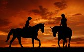 silhouette of a rider on a horse poster