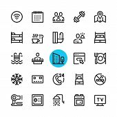 Hotel facilities, hotel services line icons set. Modern graphic design concepts, simple outline elements collection. 32x32 px. Pixel perfect. Vector line icons poster