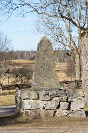 An Old Milestone In Granit Stone  With Text 1781