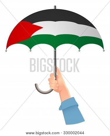 Palestine Flag. Hand Holding Umbrella. Social Security Concept. National Flag Of Palestine Vector Il