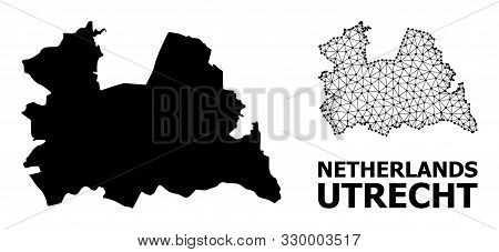 Solid And Mesh Vector Map Of Utrecht Province. Linear Frame Flat Triangular Mesh In Vector Eps Forma